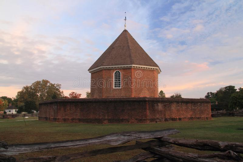 The Old Magazine. Built by Governor Spotswood in 1715, the magazine stored vital military supplies necessary for the protection of the Virginia colony October 7 stock photo