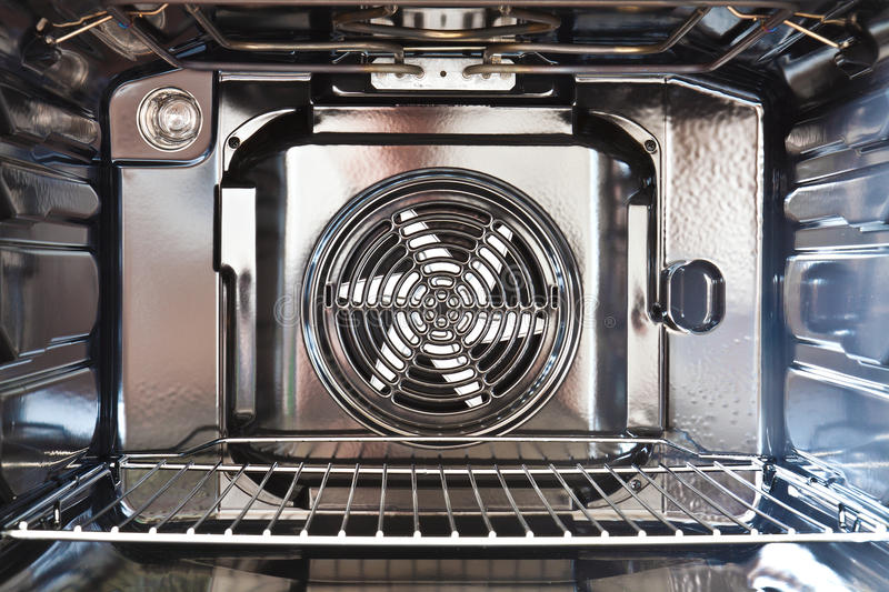Built in oven. Detail of the interior of a modern oven built with fan royalty free stock photography