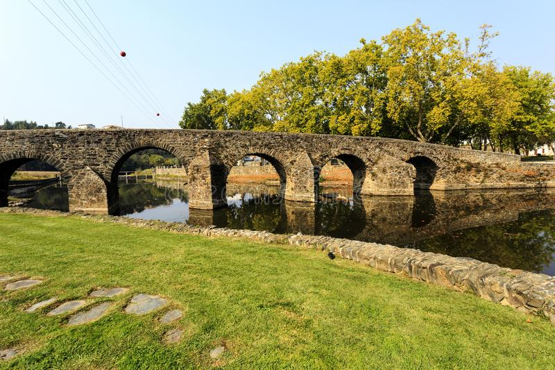 Sertã Seventeenth Century Carvalha Bridge. Built in the seventeenth century during the Spanish occupation, the Carvalha Bridge is a 6 round arches and 64 meters royalty free stock image