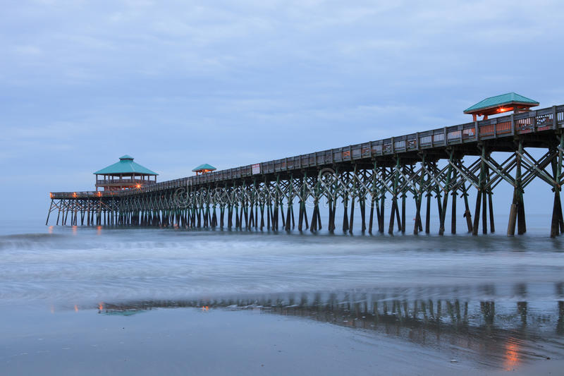 Charleston Folly Beach SC Pier South Carolina royalty free stock photography