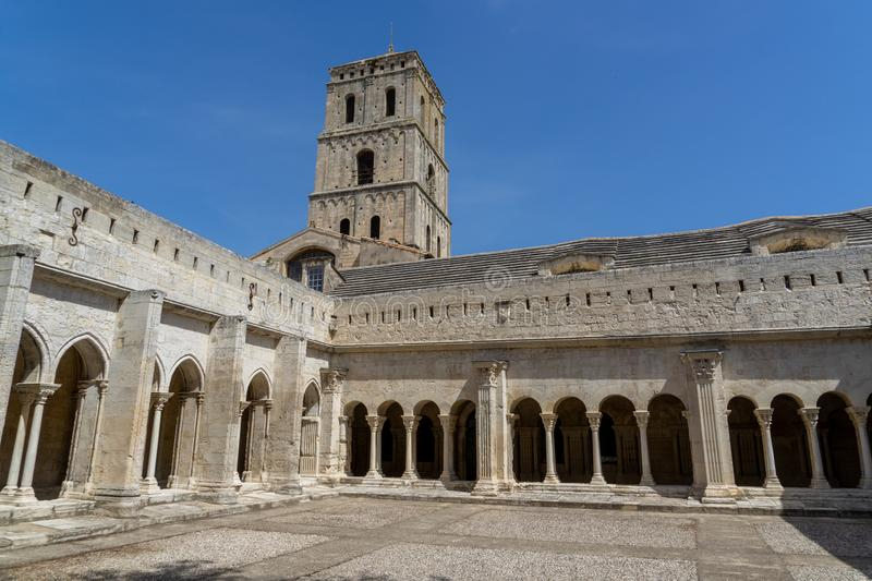 Saint-Trophime monastery at Arles in France. Built during 12th century, Saint-Trophime monastery has a different light at different moments of the day. If you royalty free stock images
