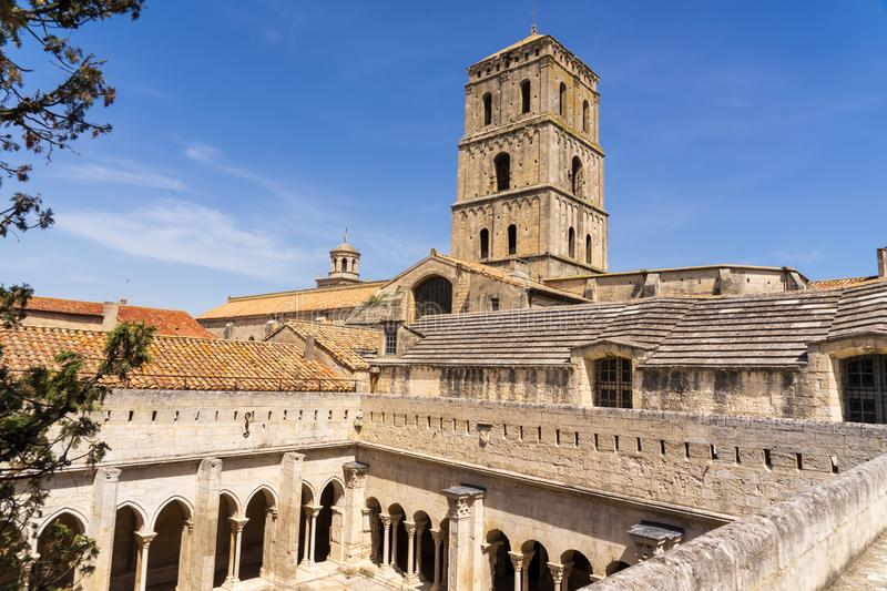 Saint-Trophime monastery architecture at Arles in France. Built during 12th century, Saint-Trophime monastery has a different light at different moments of the royalty free stock photography