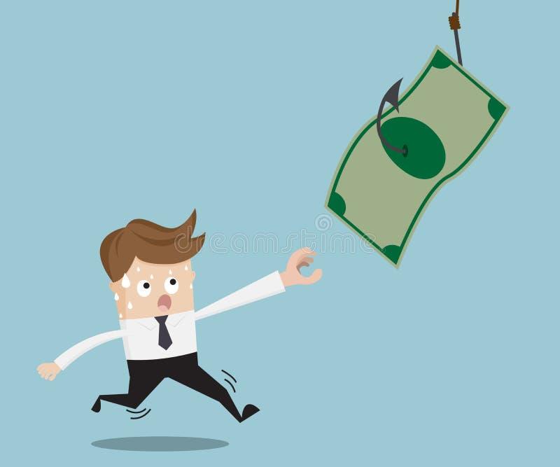 Buinessman бежать для заразительного доллара на удя крюке иллюстрация штока