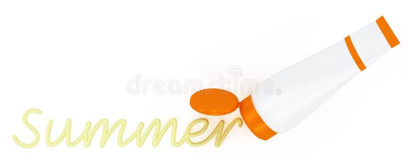 Buis van zonnescherm met een geschilderde de zomerroom stock illustratie