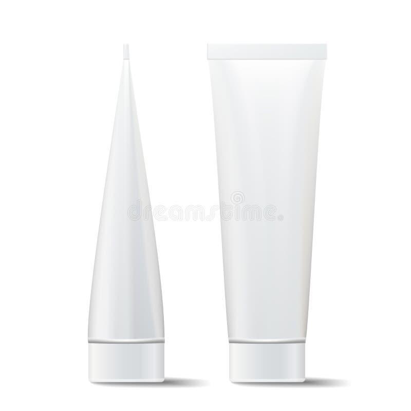 Buis Vectorspot omhoog Kosmetische Witte Plastic Buis die Realistische Illustratie verpakken Op witte achtergrond stock illustratie