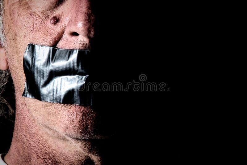 Buisband over mond van de mens royalty-vrije stock foto