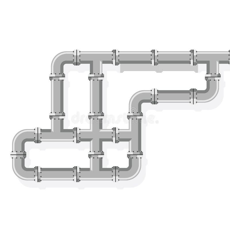 Buislijnen voor loodgieterswerk en leidingen het werk Pijplijn voor water, gas, brandstof en olie Details en schakelaars industri royalty-vrije stock afbeelding