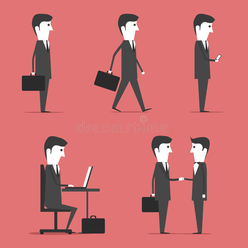 Buisness People. Image of a businessman with a suitcase. Flat design stock illustration