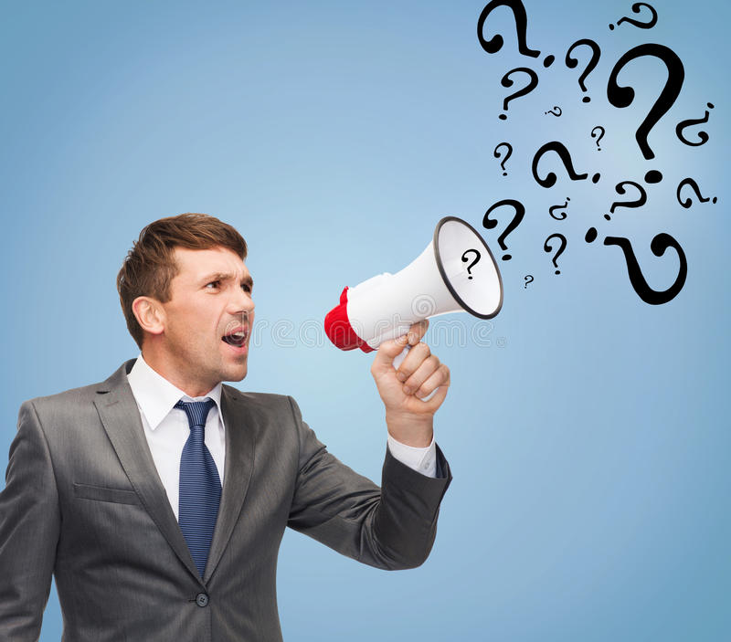 Buisnessman with bullhorn or megaphone stock photos