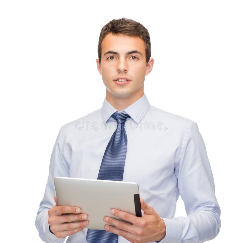 Buisnessman z pastylka komputerem osobistym zdjęcia royalty free