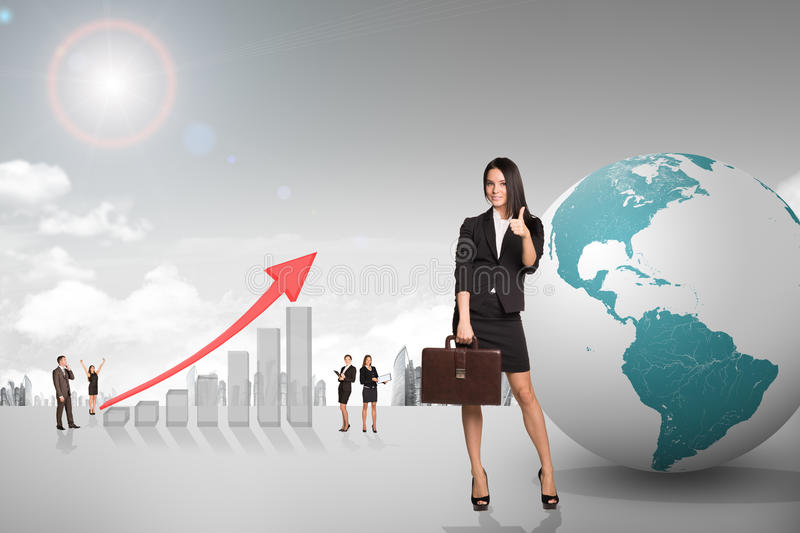 Buisnesspeople with growth graph and earth. Buisnesspeople with growth graph with city background royalty free stock photography