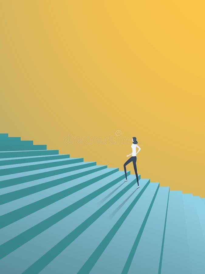 Buisnesswoman die het vectorconcept van carrièrestappen beklimmen Symbool van ambitie, motivatie, succes in carrière, bevordering stock illustratie
