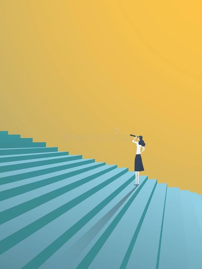 Buisnesswoman que olha acima o conceito do vetor das etapas da carreira Símbolo da ambição, motivação, sucesso na carreira, promo ilustração stock