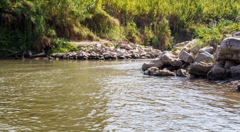 Buissons le long des banques, Jordan River image stock