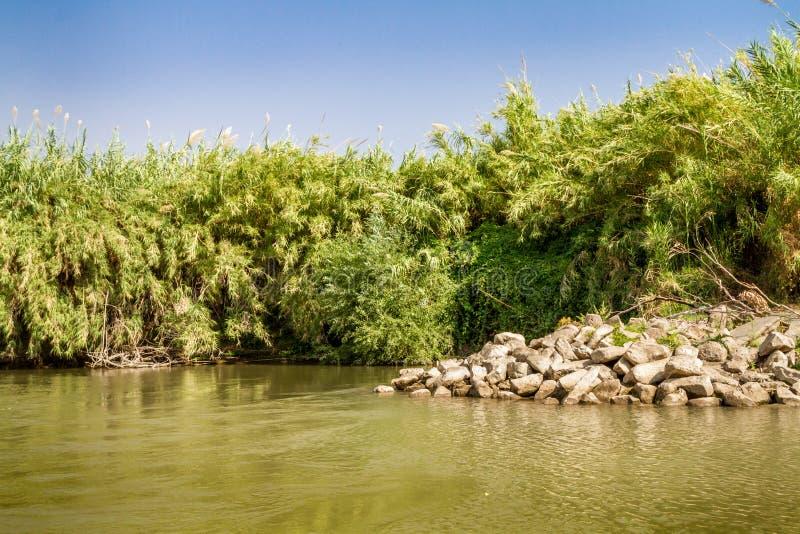 Buissons le long des banques, Jordan River photographie stock
