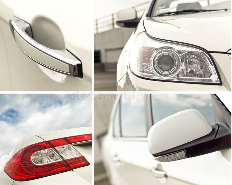 Buiten de detailscollage van de auto stock afbeeldingen