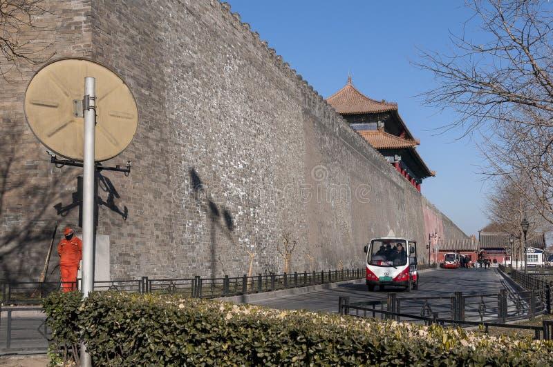 Buiten de muren van de Verboden Stad stock afbeelding