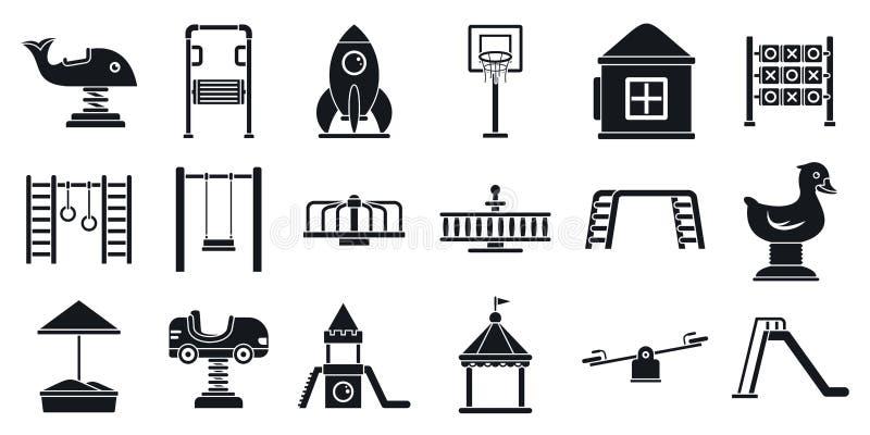 Buiten het pictogramreeks van de jong geitjespeelplaats, eenvoudige stijl vector illustratie