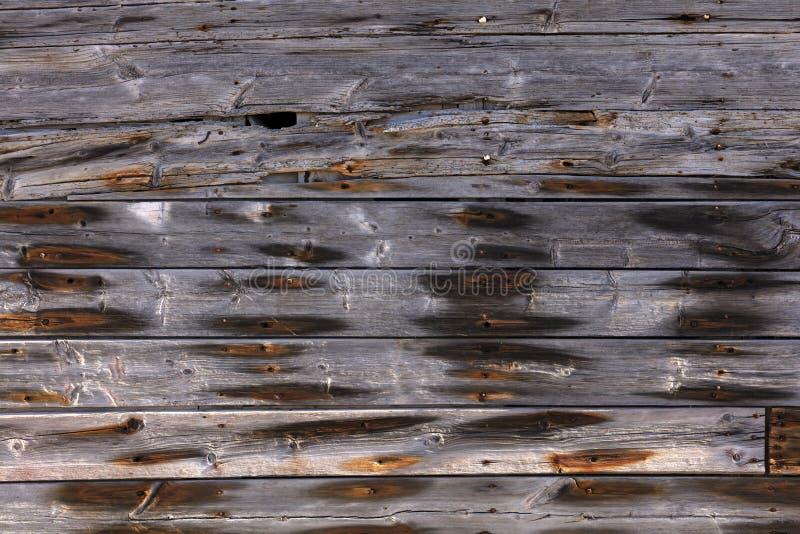 Buiten houten muur met roestige spijkers royalty-vrije stock afbeeldingen