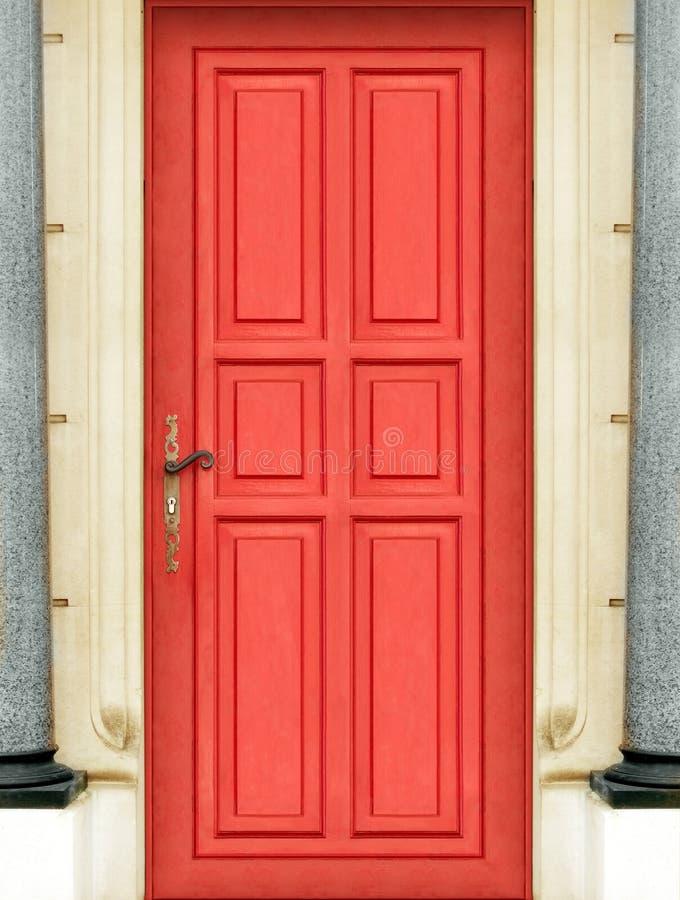 Buiten rode deur royalty-vrije stock afbeeldingen