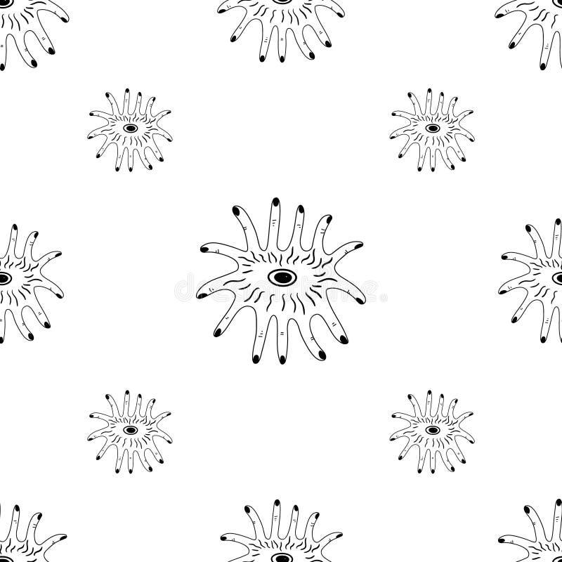 Buitenaards dier met de vector van het de kunstpatroon van vingerbenen vector illustratie