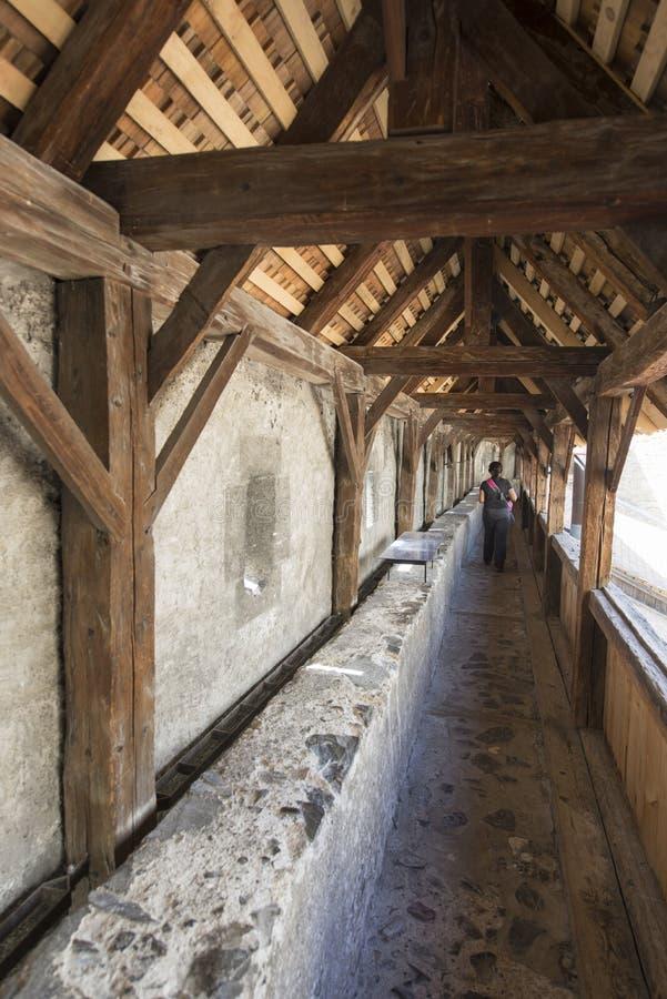 Buitenbeschermingsmuur van Chillon-Kasteel, Zwitserland royalty-vrije stock foto's