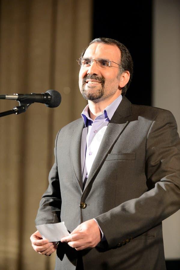 Buitengewone ambassadeur en Gevolmachtigde van de Islamitische Republiek Iran in Russische Federatie Mehdi Sanai stock afbeelding