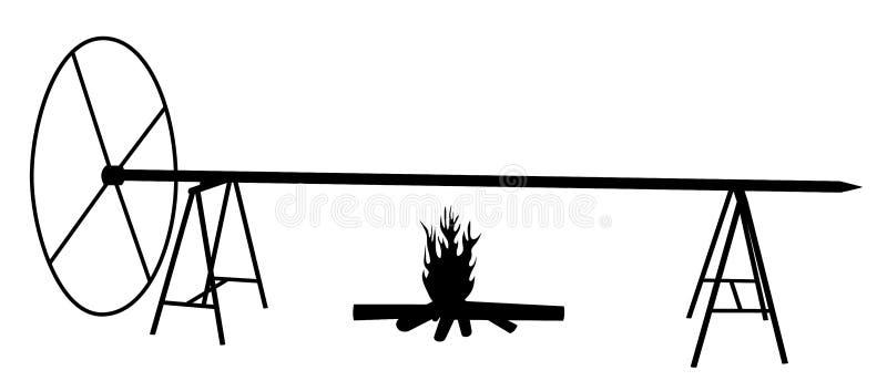 Buitengewoon breed spitbraadstuk op open brand stock illustratie