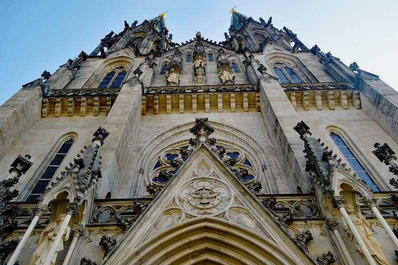 Buitenkant 7 Heilige Wenceslas Cathedral Olomouc Czech Republic stock afbeeldingen