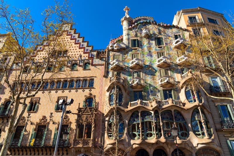 Buitenkant van Casa Amatller en Casa Batllo, Barcelona royalty-vrije stock afbeelding