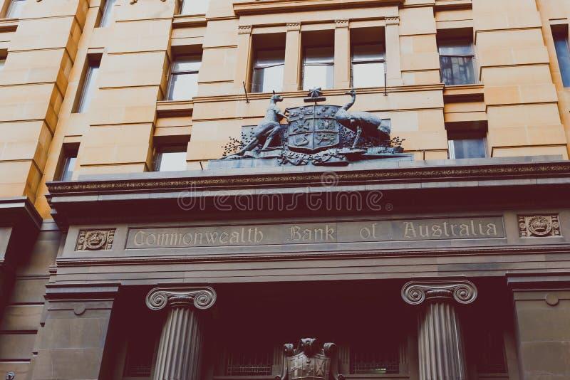 Buitenkant van Commonwealth Bank van de bouw van Australië ` s in Syd royalty-vrije stock afbeeldingen