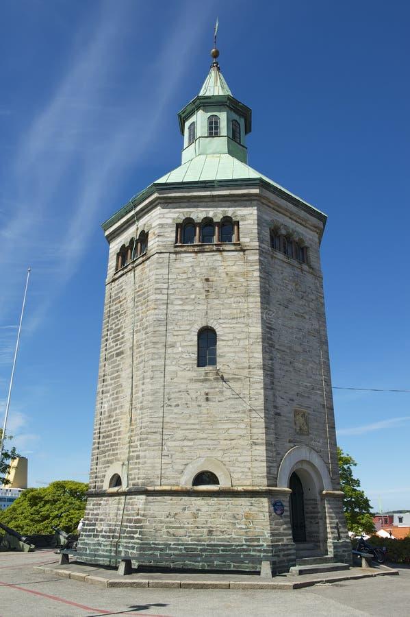Buitenkant van de Valberg-toren in Stavanger, Noorwegen royalty-vrije stock foto's