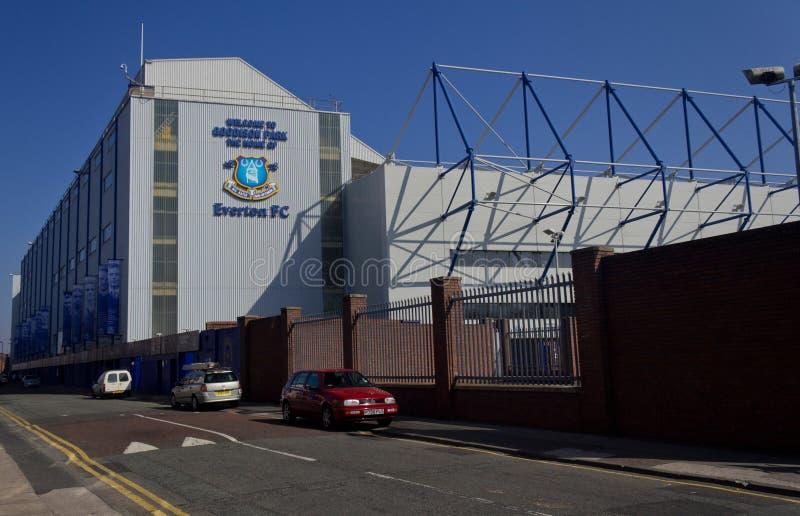 Buitenkant van Goodison-Park, huis wordt geschoten van Everton Football Club, Liverpool, Engeland dat stock foto