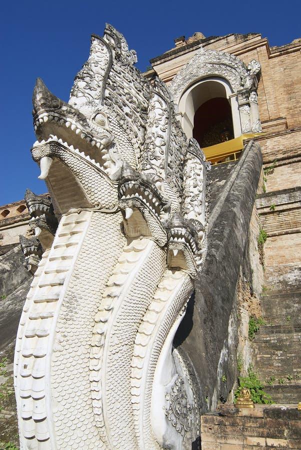 Buitenkant van Naga (mythologische Reuzeslang) bij de Prasat-tempel in Chiang Mai, Thailand stock afbeeldingen