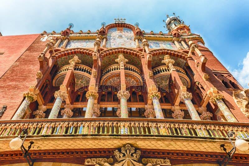 Buitenkant van Palau DE La Musica Catalana, Barcelona, Catalonië, S stock afbeelding