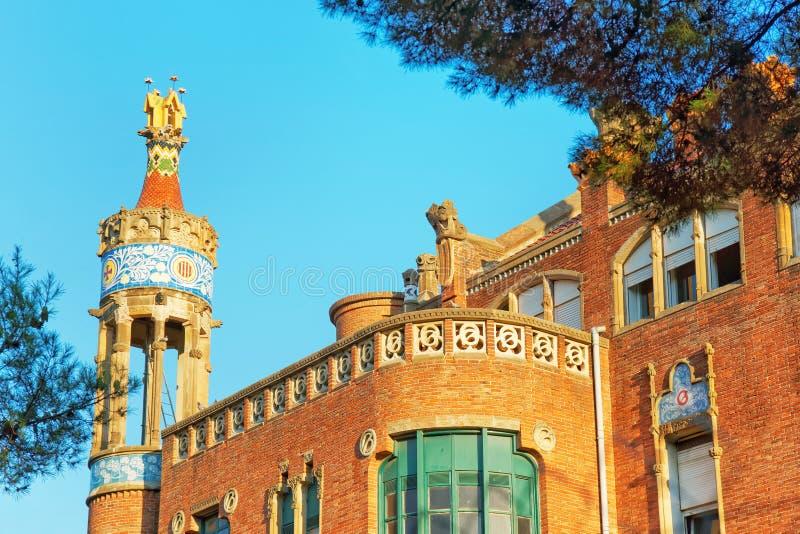 Buitenkant van vroegere Hospital DE Sant Pau in Barcelona stock afbeeldingen