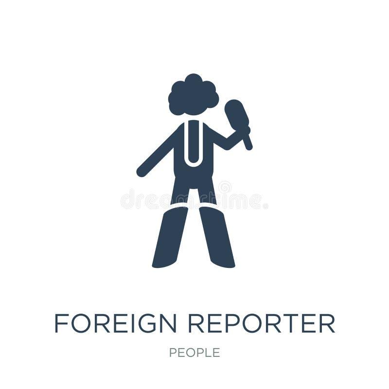 buitenlands verslaggeverspictogram in in ontwerpstijl buitenlands die verslaggeverspictogram op witte achtergrond wordt geïsoleer royalty-vrije illustratie