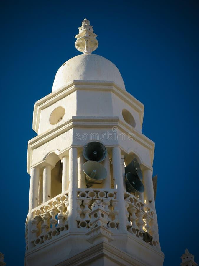 Buitenmening van Al-Jama Mosque minater, Shibam, Hadhramaut, Yemen stock foto's