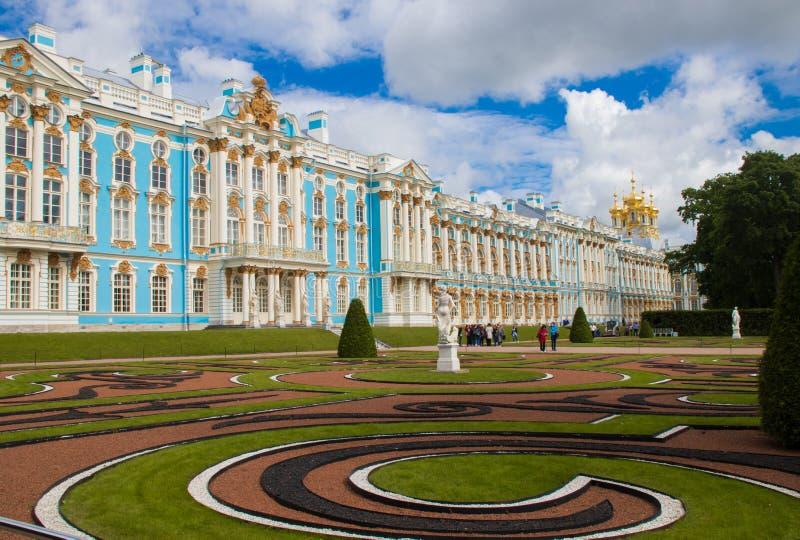 Buitenmening van Catherine Palace in St. Petersburg stock afbeeldingen