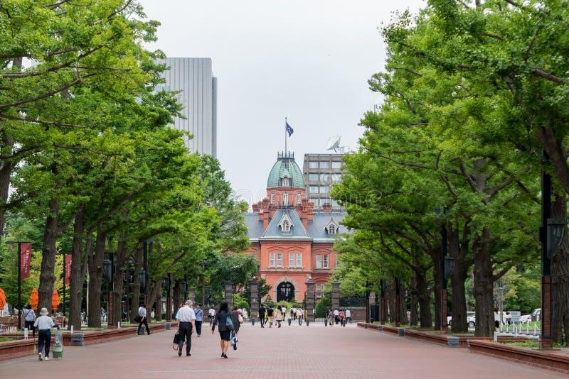 Buitenmening van het Vroegere Regeringskantoor van Hokkaido royalty-vrije stock foto's