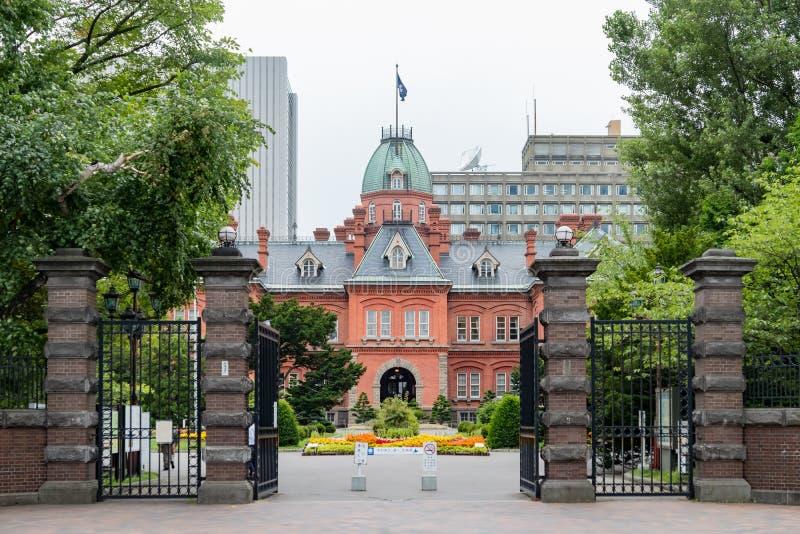 Buitenmening van het Vroegere Regeringskantoor van Hokkaido stock foto
