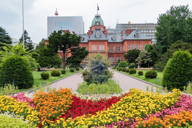 Buitenmening van het Vroegere Regeringskantoor van Hokkaido stock fotografie