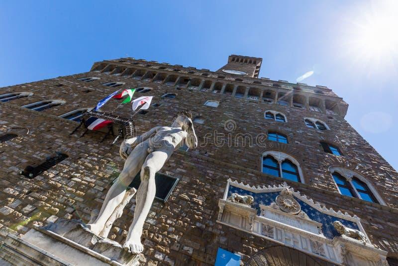 Buitenmening van Palazzo Vecchio en zijn exemplaar van Michelangel royalty-vrije stock foto's