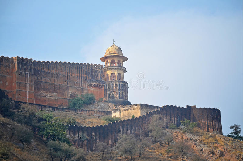 Buitenmuur van Amber Fort, Jaipur royalty-vrije stock afbeelding