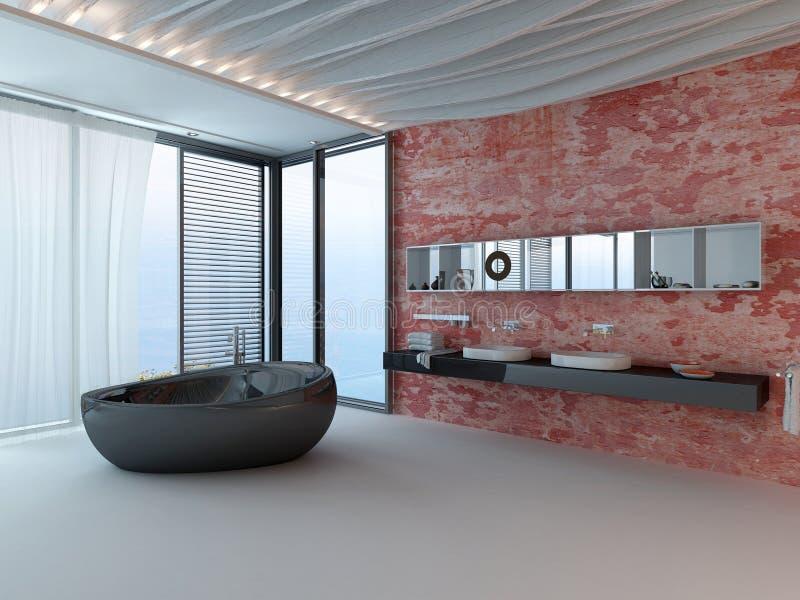 Buitensporig badkamersbinnenland met rode muur en zwarte badkuip stock illustratie