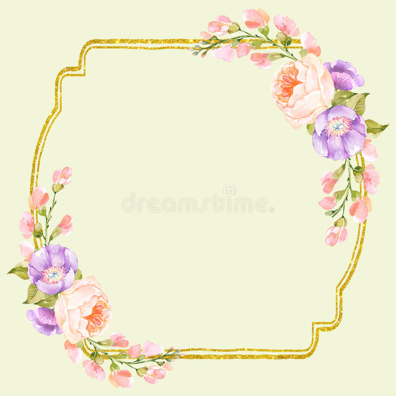 Buitensporig Bloemen Vierkant Kader stock fotografie