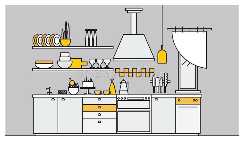 Buitensporig die binnenland van keuken met elektronische huishoudapparaten, cookware, kokende werktuigen en faciliteiten wordt ge stock illustratie