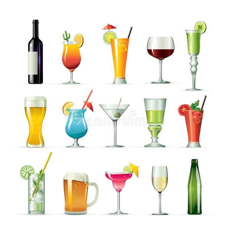 Buitensporig drink cocktails royalty-vrije illustratie