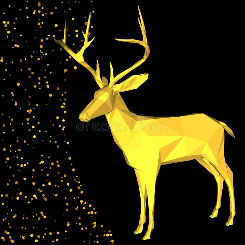Buitensporige gouden hertenvorm in de stijl van de hipsterorigami vector illustratie