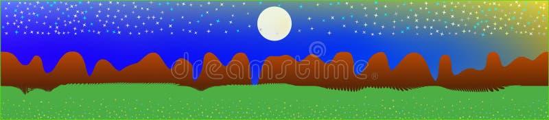 Buitensporige hemel, en bergenlandschap stock illustratie